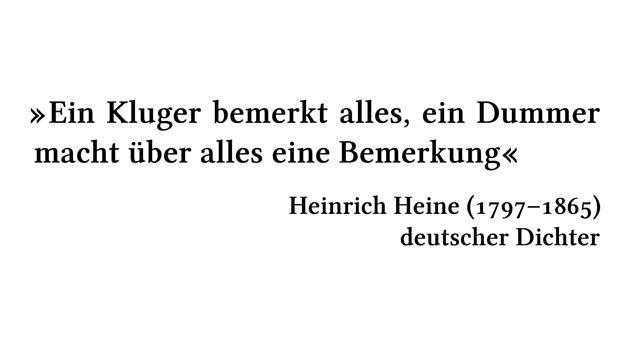 Ein Kluger bemerkt alles, ein Dummer macht über alles eine Bemerkung - Heinrich Heine (1797-1865) - deutscher Dichter