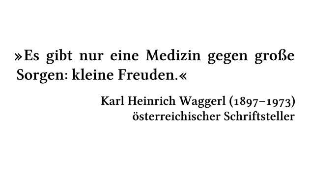 Es gibt nur eine Medizin gegen große Sorgen: kleine Freuden. - Karl Heinrich Waggerl (1897-1973) - österreichischer Schriftsteller