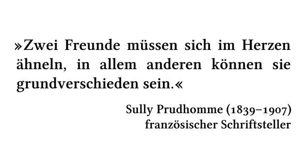 Zwei Freunde müssen sich im Herzen ähneln, in allem anderen können sie grundverschieden sein. - Sully Prudhomme (1839-1907) - französischer Schriftsteller
